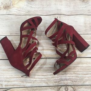 Michael Red Leather Straps Block Heels Sz 8.5